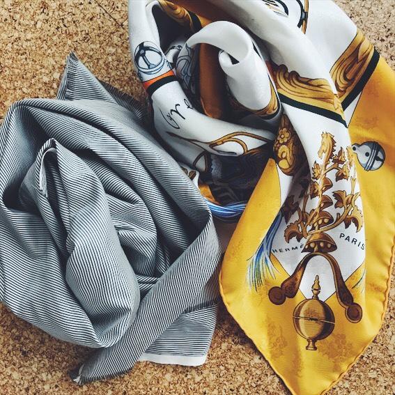 エルメスのスカーフとシルクのスカーフ