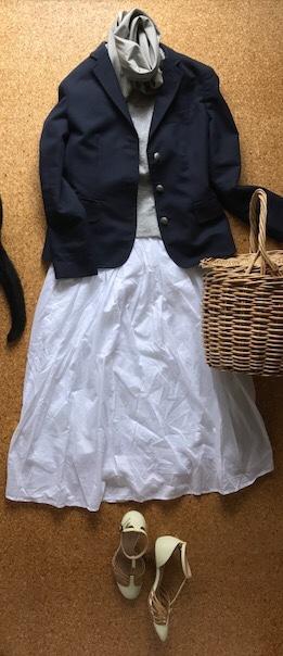 紺ブレ白コットンスカート