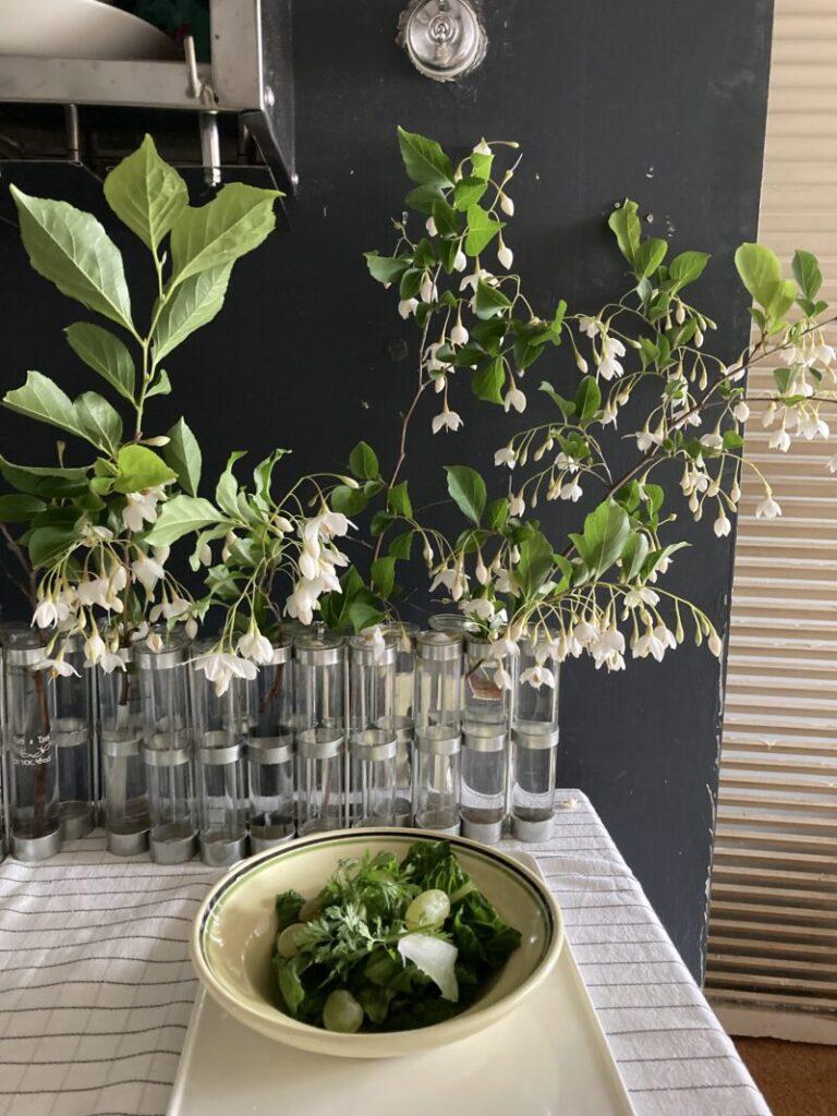 四月の花器とエゴノキ