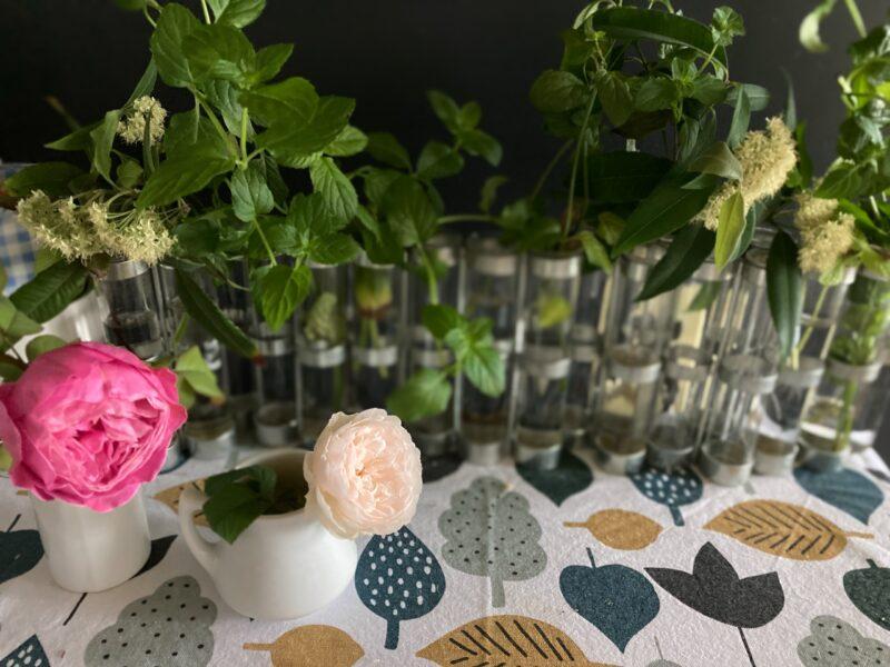 パリ風キッチンの四月の花器とバラ ゆうぜんとアッサンプラージュ