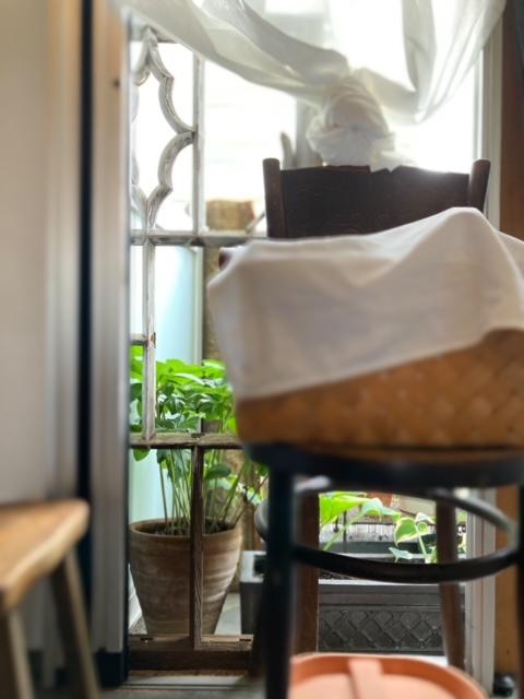 パリ風キッチンから見たベランダシェードガーデン