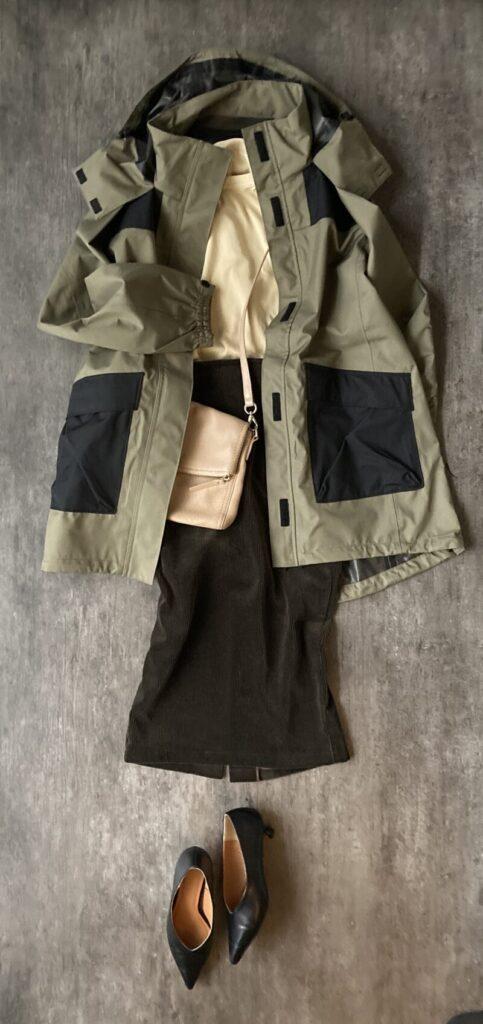 50代1週間コーデ GUのカーキ色コート